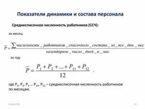 Коэффициент перевода замещения среднесписочная численность работников