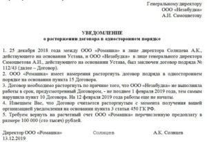 Соглашение о расторжении договора подряда и возврате аванса