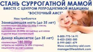 Как стать суррогатной матерью в москве цена