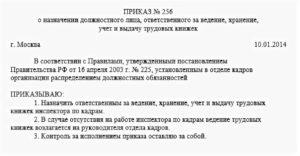 Образец приказа ответственный за ведение трудовых книжек