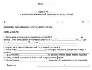 Образец приказа на замещение главного бухгалтера на время отпуска