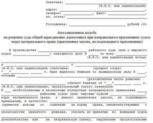 Образец апелляционной жалобы на решение районного суда о разторжении брака