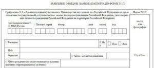 Бланк заявление о выдаче паспорта форма 1п в excel
