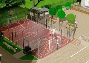 Спортивная площадка во дворе многоэтажного дома проект